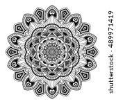 mandala. black and white. round ... | Shutterstock . vector #489971419