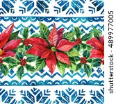 watercolor ornament with... | Shutterstock . vector #489977005