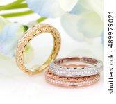 diamond eternity ring flower... | Shutterstock . vector #489979021