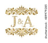 J And A Vintage Initials Logo...