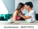 love of mother and daughter ... | Shutterstock . vector #489979921