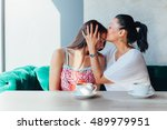 mother kissing daughter in a...   Shutterstock . vector #489979951
