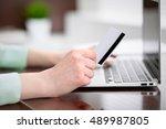 business woman in a green... | Shutterstock . vector #489987805