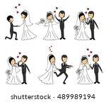wedding doodle couple in love.... | Shutterstock .eps vector #489989194