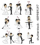 wedding doodle couple in love.... | Shutterstock .eps vector #489989197