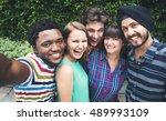groupie together teamwork... | Shutterstock . vector #489993109