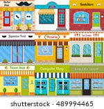 set of store fronts in flat... | Shutterstock .eps vector #489994465