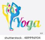 yoga letter. color polygon font ... | Shutterstock .eps vector #489996934