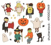 kids different costumes... | Shutterstock .eps vector #490002949