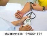 measuring pressure of patient