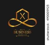 x letter logo  gold emblem ... | Shutterstock .eps vector #490005925