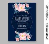 romantic pink peony bouquet... | Shutterstock .eps vector #490008604