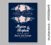 romantic pink peony bouquet...   Shutterstock .eps vector #490008649