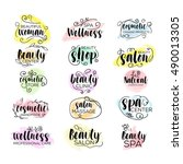 set of hand drawn watercolor... | Shutterstock .eps vector #490013305