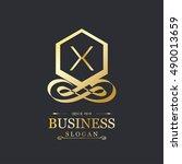 x letter logo  gold emblem ... | Shutterstock .eps vector #490013659