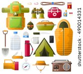 survival kit items for survival ... | Shutterstock .eps vector #490014331