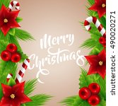 merry christmas lettering with... | Shutterstock .eps vector #490020271