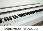 Close Up Piano Key White...