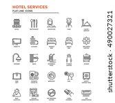 set of modern flat line icon... | Shutterstock .eps vector #490027321