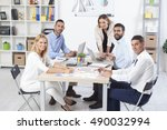 group of business people having ... | Shutterstock . vector #490032994