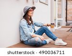 beautiful young woman in hat.... | Shutterstock . vector #490036711
