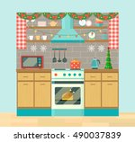 rustic kitchen interior and... | Shutterstock .eps vector #490037839