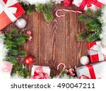 christmas gift boxes  decor and ...   Shutterstock . vector #490047211