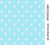 seamless rabbit pattern on blue ... | Shutterstock .eps vector #490051084