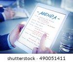 calendar agenda event meeting... | Shutterstock . vector #490051411