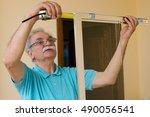 senior man installing and...   Shutterstock . vector #490056541