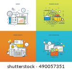 concept of surveys and polls ... | Shutterstock .eps vector #490057351