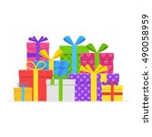 pile colorful gift or present...   Shutterstock .eps vector #490058959