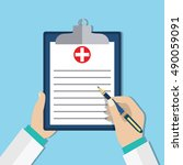 clipboard in doctors hand. make ... | Shutterstock .eps vector #490059091