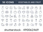 set vector line icons in flat... | Shutterstock .eps vector #490062469