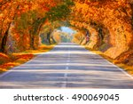 autumn fall road landscape  ... | Shutterstock . vector #490069045