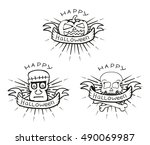 linear hand drawn halloween... | Shutterstock .eps vector #490069987