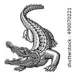 Crocodile. Hand Drawn Ethnic...