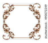 vintage border frame engraving... | Shutterstock .eps vector #490072249