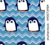 penguin seamless  background... | Shutterstock .eps vector #490073989