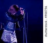 girl singing in concert on dark ... | Shutterstock . vector #4900756