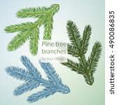 three different pine brunches... | Shutterstock .eps vector #490086835
