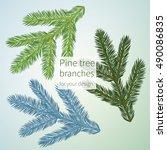 three different pine brunches... | Shutterstock .eps vector #490086835