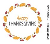 card for thanksgiving day on... | Shutterstock .eps vector #490090621