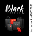 black friday sale shopping bag. ... | Shutterstock .eps vector #490093051