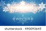 elegant winter background with... | Shutterstock .eps vector #490093645