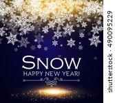 snowfall christmas background.... | Shutterstock .eps vector #490095229
