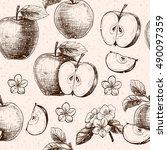 apples  and flowers. vector... | Shutterstock .eps vector #490097359
