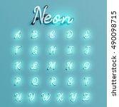 realistic neon character... | Shutterstock .eps vector #490098715