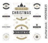 christmas labels and badges... | Shutterstock .eps vector #490098835
