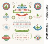 christmas labels and badges... | Shutterstock .eps vector #490098859